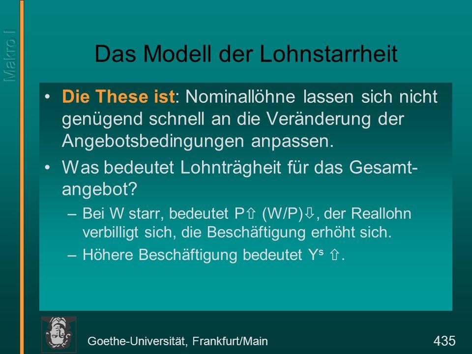 Goethe-Universität, Frankfurt/Main 435 Das Modell der Lohnstarrheit Die These ist: Nominallöhne lassen sich nicht genügend schnell an die Veränderung