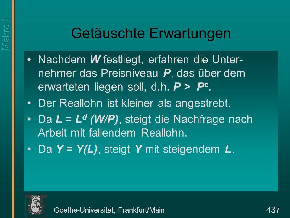 Goethe-Universität, Frankfurt/Main 437 Getäuschte Erwartungen Nachdem W festliegt, erfahren die Unter- nehmer das Preisniveau P, das über dem erwartet