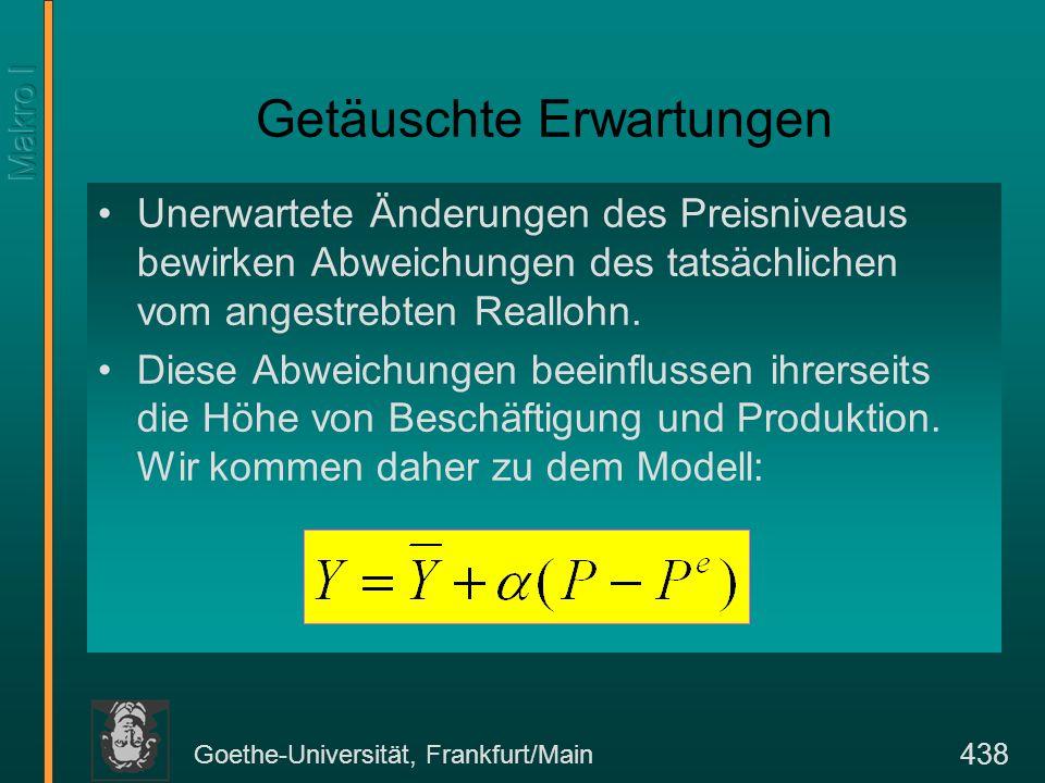 Goethe-Universität, Frankfurt/Main 438 Getäuschte Erwartungen Unerwartete Änderungen des Preisniveaus bewirken Abweichungen des tatsächlichen vom ange