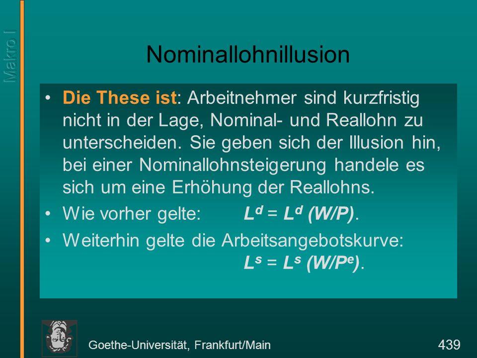 Goethe-Universität, Frankfurt/Main 439 Nominallohnillusion Die These ist: Arbeitnehmer sind kurzfristig nicht in der Lage, Nominal- und Reallohn zu un