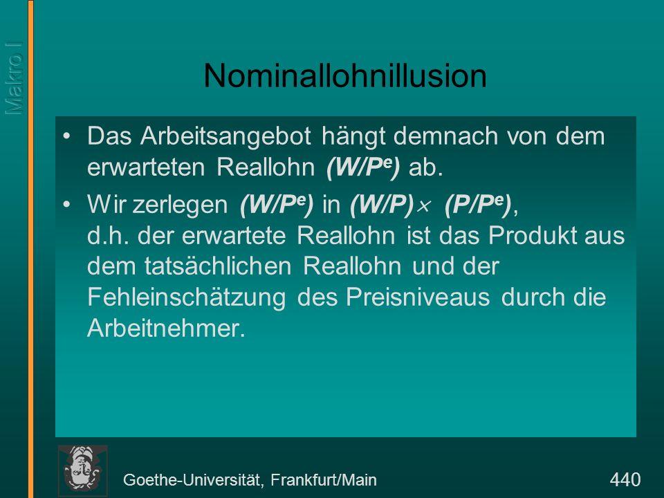 Goethe-Universität, Frankfurt/Main 440 Nominallohnillusion Das Arbeitsangebot hängt demnach von dem erwarteten Reallohn (W/P e ) ab. Wir zerlegen (W/P