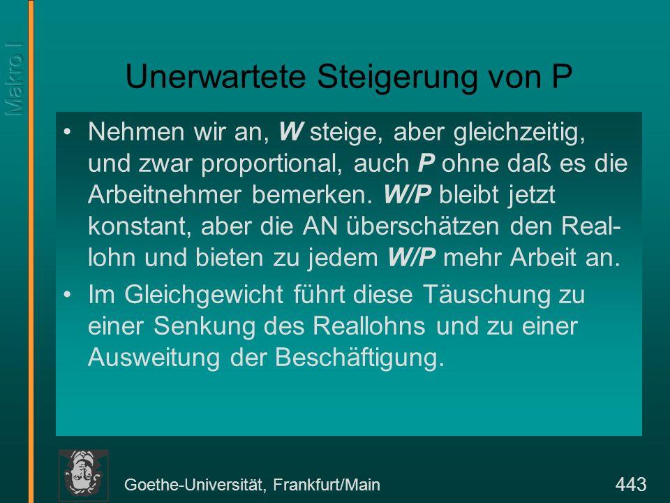 Goethe-Universität, Frankfurt/Main 443 Unerwartete Steigerung von P Nehmen wir an, W steige, aber gleichzeitig, und zwar proportional, auch P ohne daß
