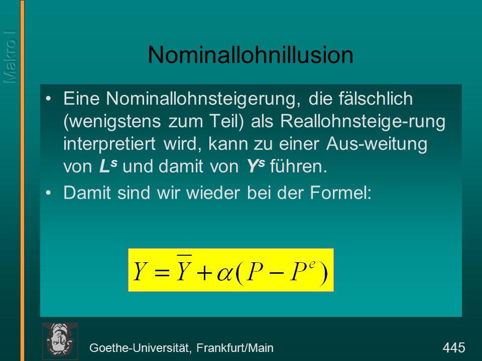 Goethe-Universität, Frankfurt/Main 445 Nominallohnillusion Eine Nominallohnsteigerung, die fälschlich (wenigstens zum Teil) als Reallohnsteige-rung in