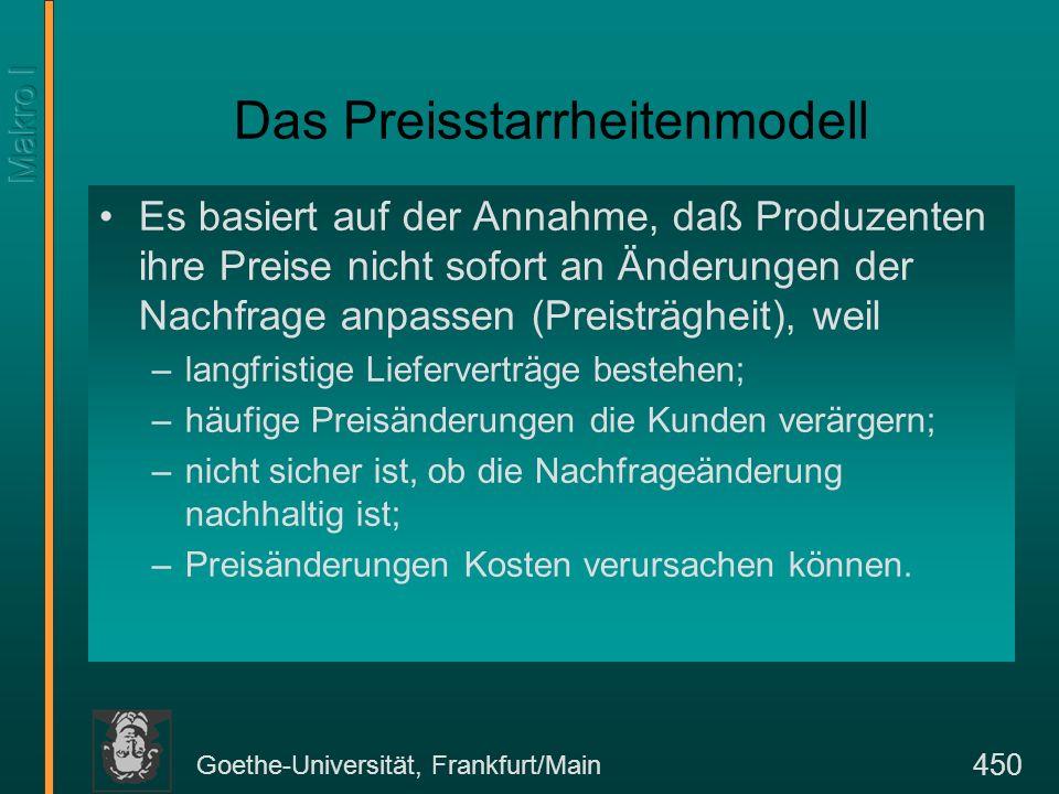 Goethe-Universität, Frankfurt/Main 450 Das Preisstarrheitenmodell Es basiert auf der Annahme, daß Produzenten ihre Preise nicht sofort an Änderungen d