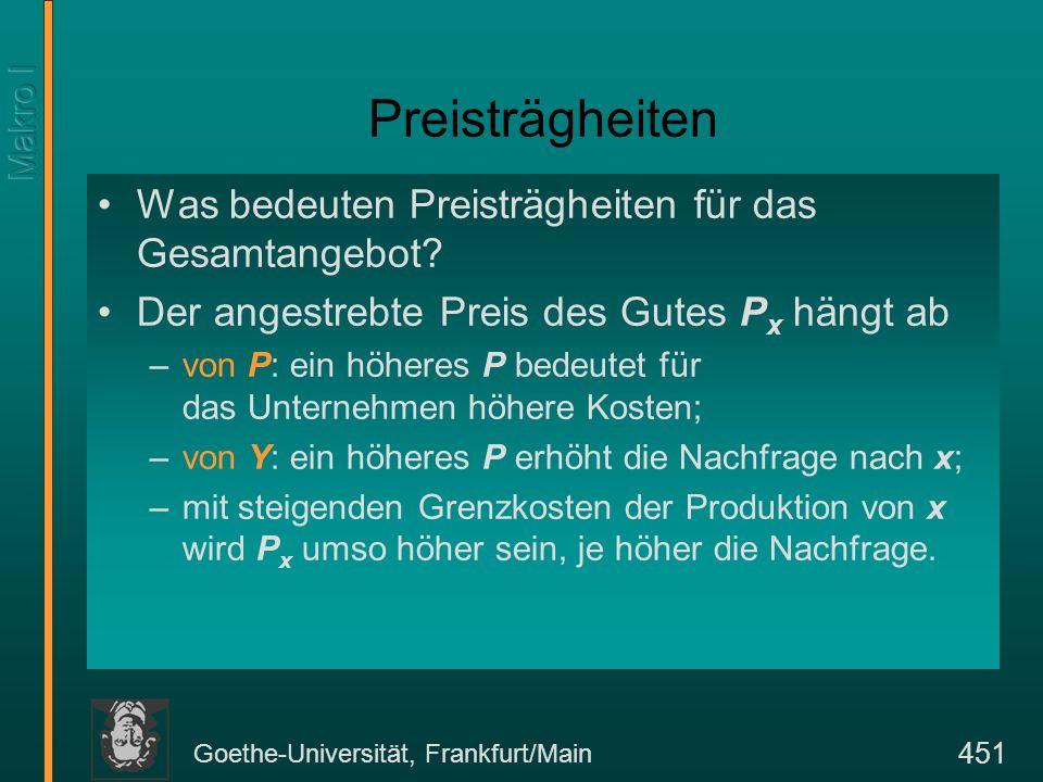 Goethe-Universität, Frankfurt/Main 451 Preisträgheiten Was bedeuten Preisträgheiten für das Gesamtangebot? Der angestrebte Preis des Gutes P x hängt a