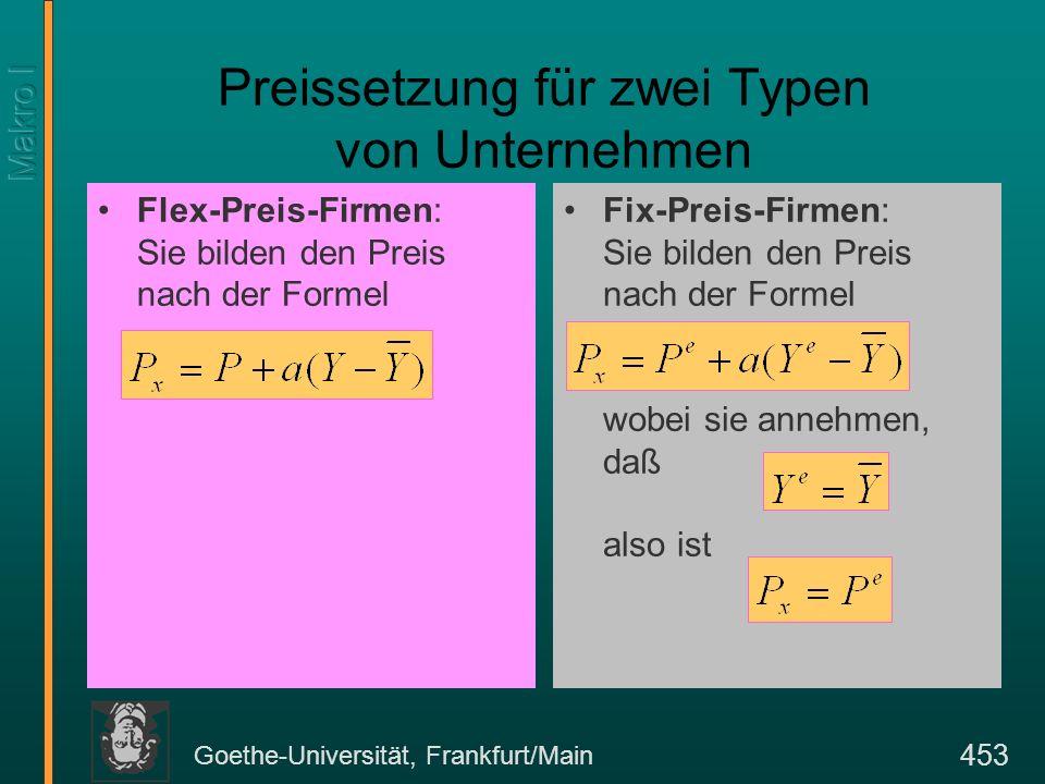 Goethe-Universität, Frankfurt/Main 453 Preissetzung für zwei Typen von Unternehmen Flex-Preis-Firmen: Sie bilden den Preis nach der Formel Fix-Preis-F