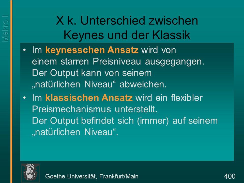 Goethe-Universität, Frankfurt/Main 401 Unterschied zwischen Keynes und der Klassik Der keynessche Ansatz gilt in der kurzen Frist und er rechtfertigt eine kompensatorische Geld- und Fiskalpolitik.