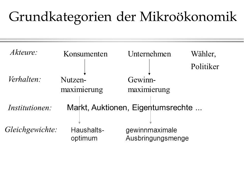 Grundkategorien der Mikroökonomik Akteure: Verhalten: Institutionen: Gleichgewichte: KonsumentenUnternehmen Nutzen- maximierung Gewinn- maximierung Wä
