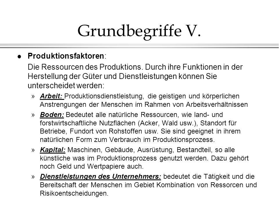 Grundbegriffe V. l Produktionsfaktoren: Die Ressourcen des Produktions. Durch ihre Funktionen in der Herstellung der Güter und Dienstleistungen können