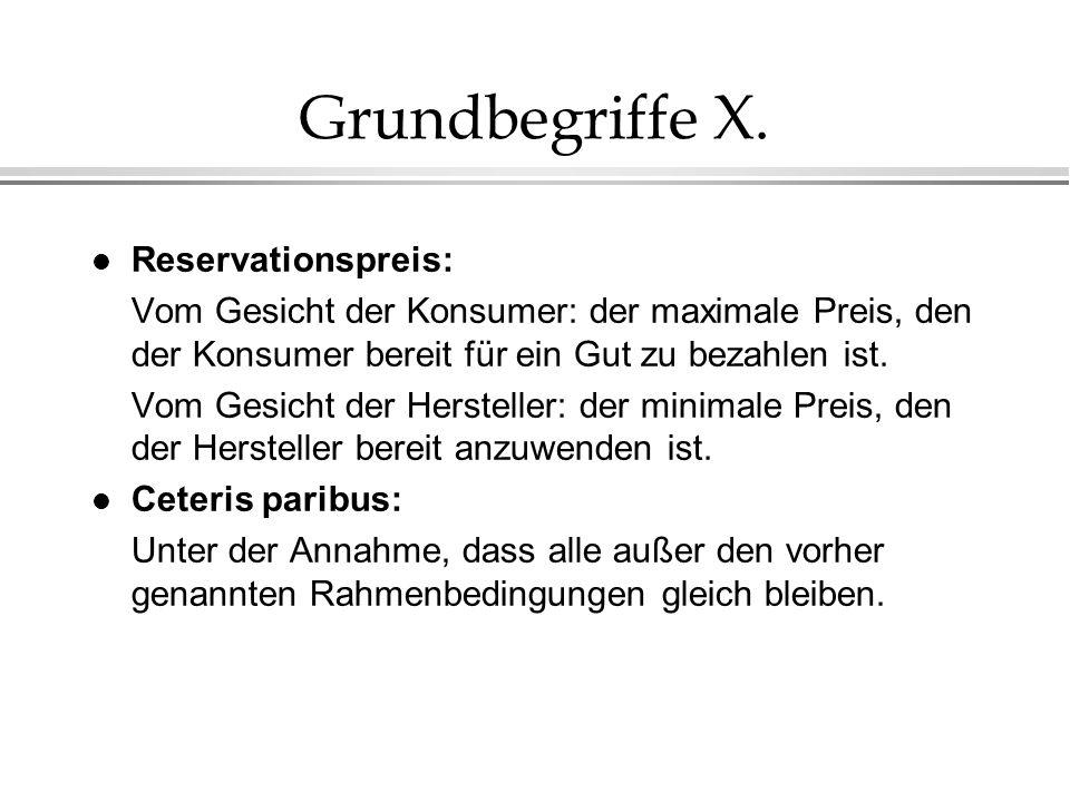 Grundbegriffe X. l Reservationspreis: Vom Gesicht der Konsumer: der maximale Preis, den der Konsumer bereit für ein Gut zu bezahlen ist. Vom Gesicht d