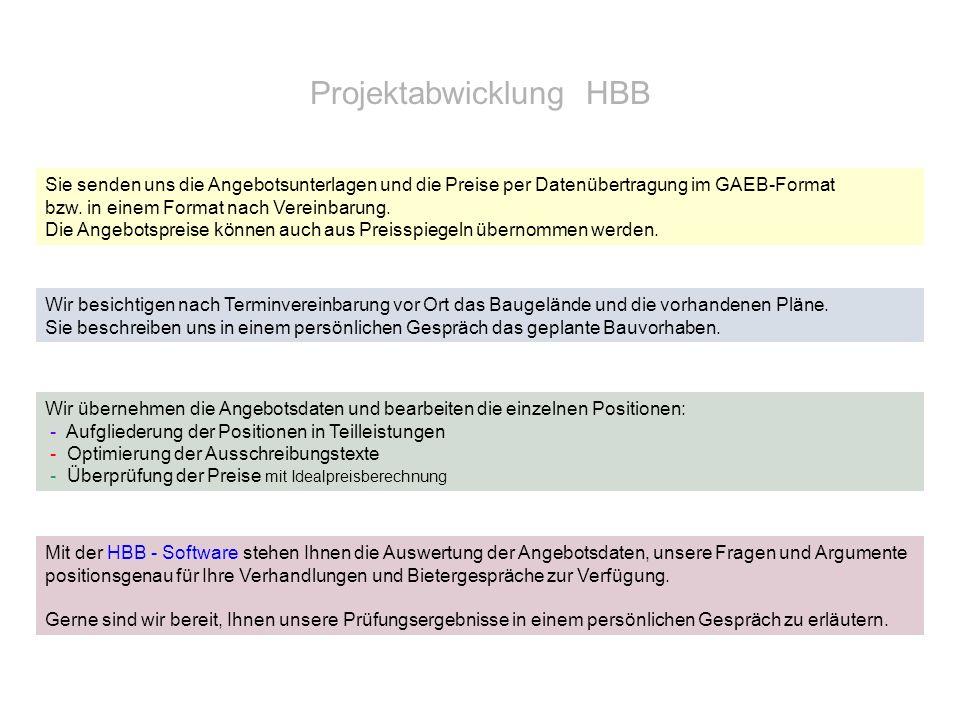 Projektabwicklung HBB Sie senden uns die Angebotsunterlagen und die Preise per Datenübertragung im GAEB-Format bzw. in einem Format nach Vereinbarung.