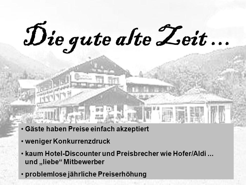Die gute alte Zeit... Gäste haben Preise einfach akzeptiert weniger Konkurrenzdruck kaum Hotel-Discounter und Preisbrecher wie Hofer/Aldi... und liebe