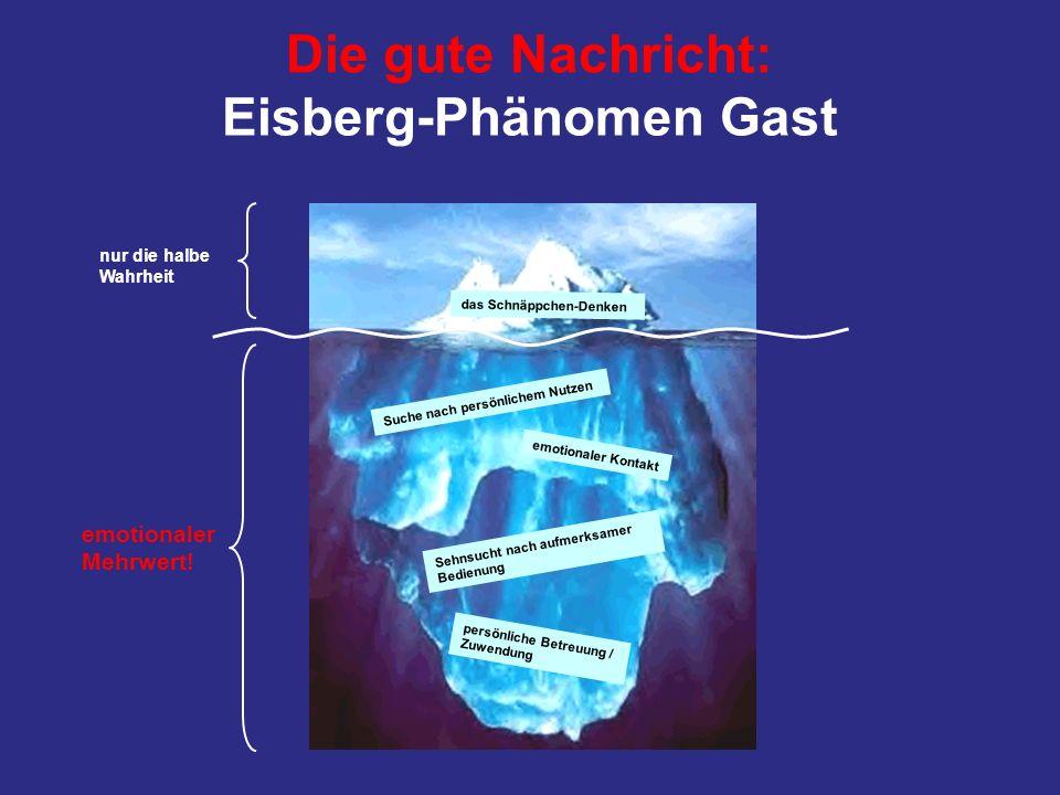 Die gute Nachricht: Eisberg-Phänomen Gast das Schnäppchen-Denken Suche nach persönlichem Nutzen persönliche Betreuung / Zuwendung Sehnsucht nach aufme