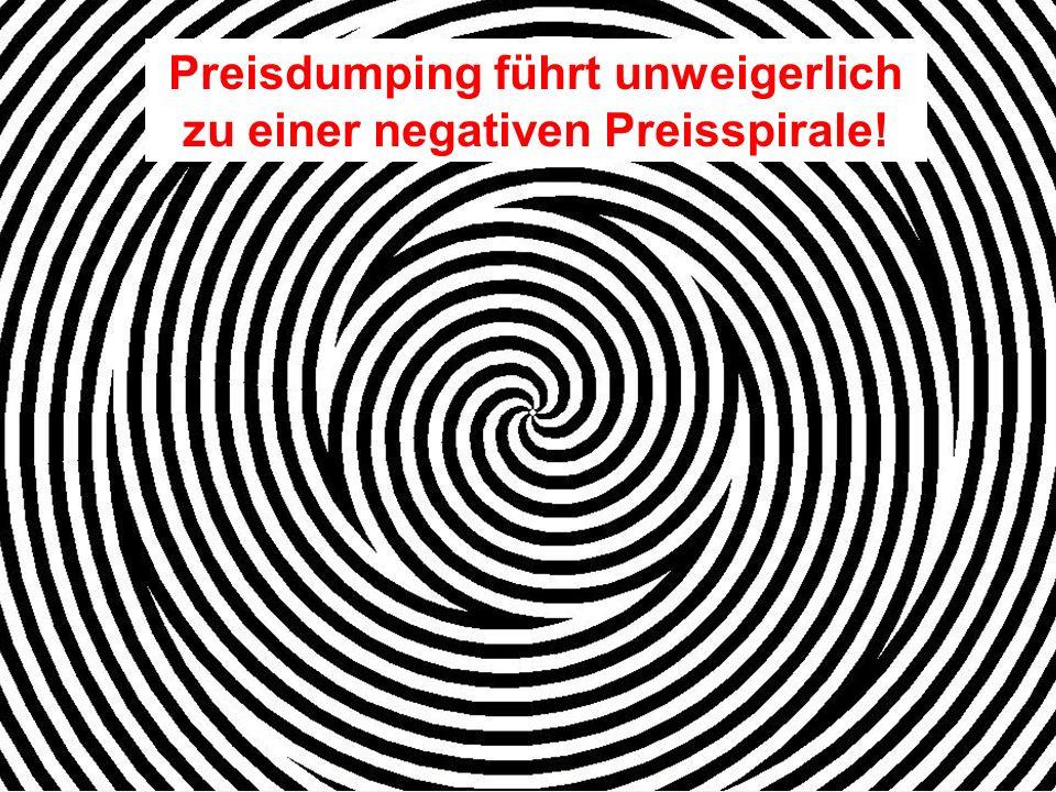 Preisdumping führt unweigerlich zu einer negativen Preisspirale!