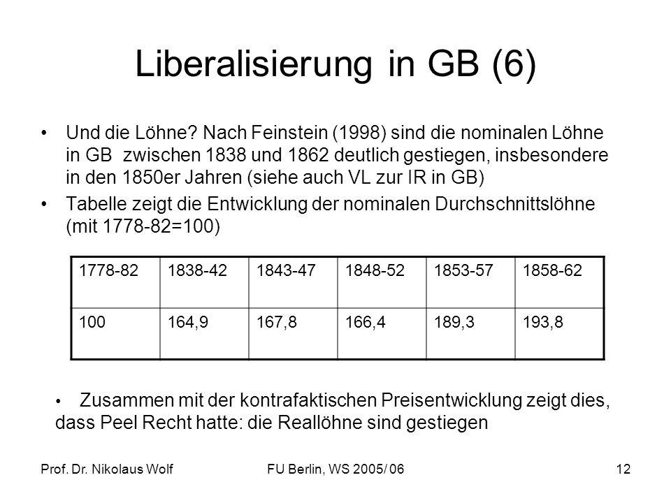 Prof. Dr. Nikolaus WolfFU Berlin, WS 2005/ 0612 Liberalisierung in GB (6) Und die Löhne? Nach Feinstein (1998) sind die nominalen Löhne in GB zwischen