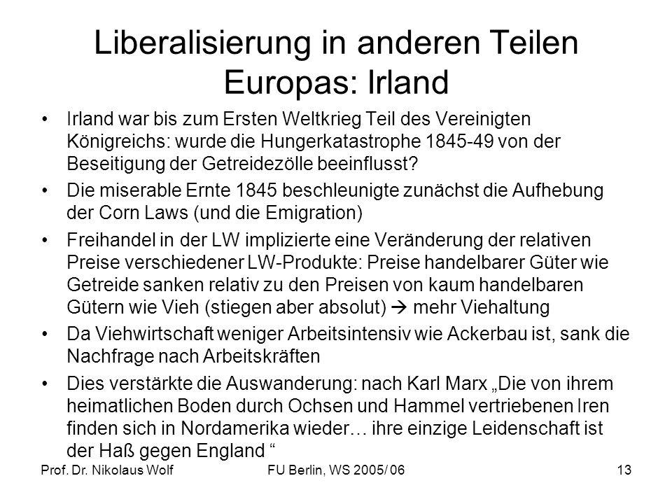 Prof. Dr. Nikolaus WolfFU Berlin, WS 2005/ 0613 Liberalisierung in anderen Teilen Europas: Irland Irland war bis zum Ersten Weltkrieg Teil des Vereini