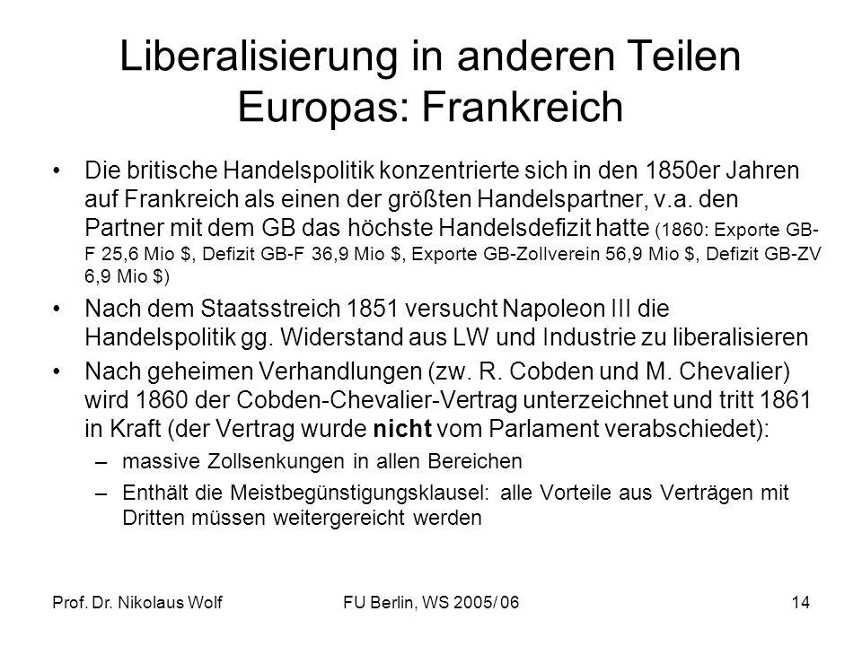 Prof. Dr. Nikolaus WolfFU Berlin, WS 2005/ 0614 Liberalisierung in anderen Teilen Europas: Frankreich Die britische Handelspolitik konzentrierte sich