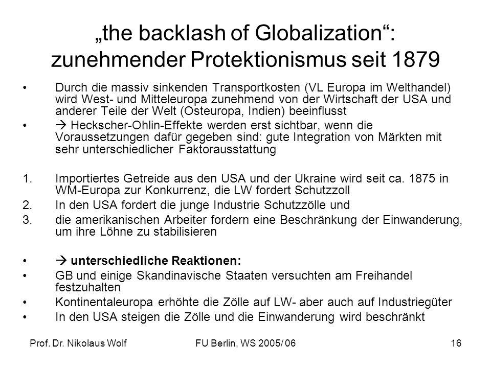 Prof. Dr. Nikolaus WolfFU Berlin, WS 2005/ 0616 the backlash of Globalization: zunehmender Protektionismus seit 1879 Durch die massiv sinkenden Transp