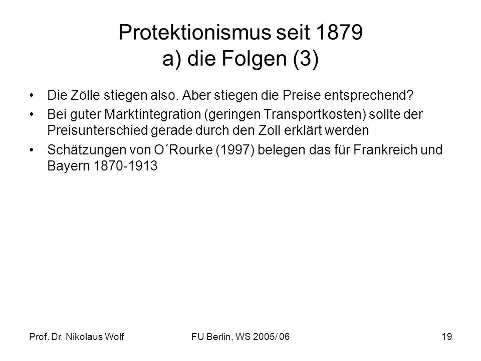 Prof. Dr. Nikolaus WolfFU Berlin, WS 2005/ 0619 Protektionismus seit 1879 a) die Folgen (3) Die Zölle stiegen also. Aber stiegen die Preise entspreche