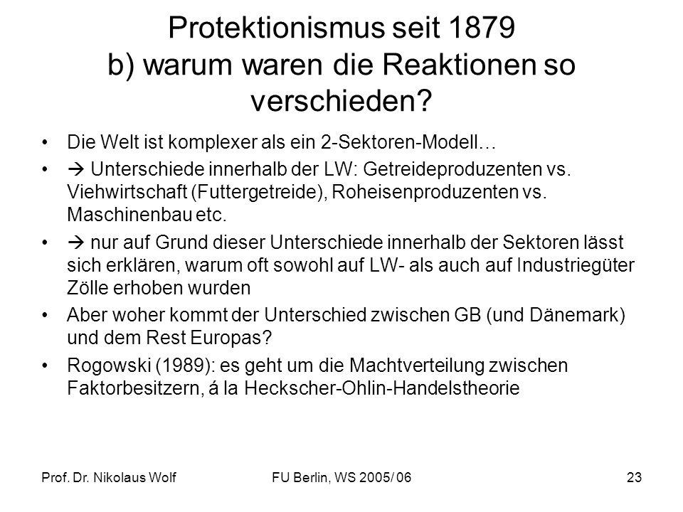 Prof. Dr. Nikolaus WolfFU Berlin, WS 2005/ 0623 Protektionismus seit 1879 b) warum waren die Reaktionen so verschieden? Die Welt ist komplexer als ein