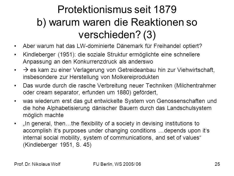 Prof. Dr. Nikolaus WolfFU Berlin, WS 2005/ 0625 Protektionismus seit 1879 b) warum waren die Reaktionen so verschieden? (3) Aber warum hat das LW-domi
