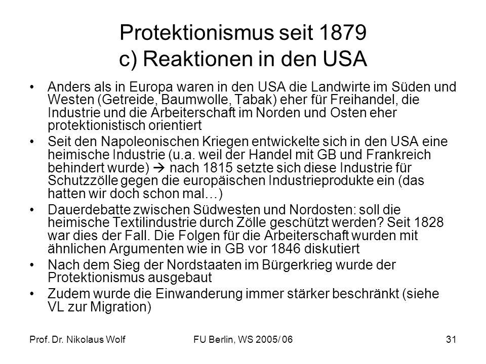 Prof. Dr. Nikolaus WolfFU Berlin, WS 2005/ 0631 Protektionismus seit 1879 c) Reaktionen in den USA Anders als in Europa waren in den USA die Landwirte