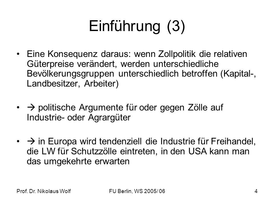 Prof. Dr. Nikolaus WolfFU Berlin, WS 2005/ 064 Einführung (3) Eine Konsequenz daraus: wenn Zollpolitik die relativen Güterpreise verändert, werden unt