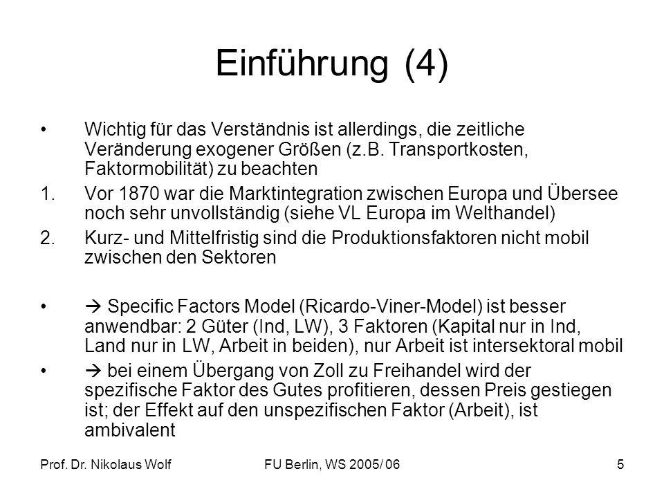 Prof. Dr. Nikolaus WolfFU Berlin, WS 2005/ 065 Einführung (4) Wichtig für das Verständnis ist allerdings, die zeitliche Veränderung exogener Größen (z