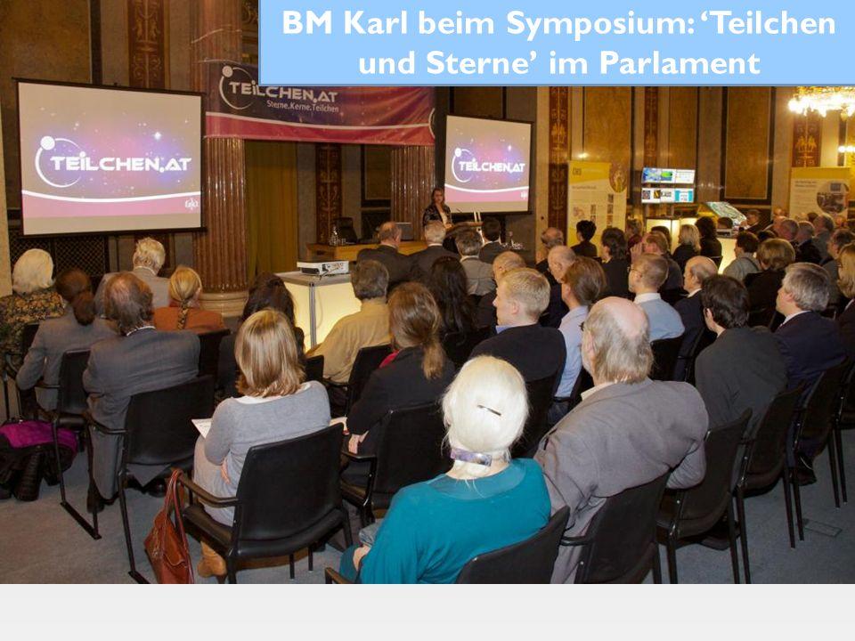 BM Karl beim Symposium: Teilchen und Sterne im Parlament