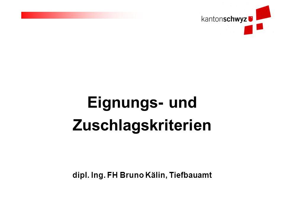 Eignungs- und Zuschlagskriterien dipl. Ing. FH Bruno Kälin, Tiefbauamt
