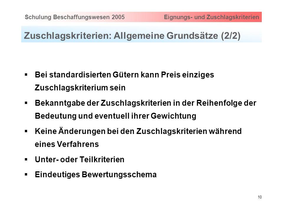 Hauptthema eingeben via Ansicht > Master > FolienmasterSchulung Beschaffungswesen 2005 Eignungs- und Zuschlagskriterien 10 Zuschlagskriterien: Allgeme