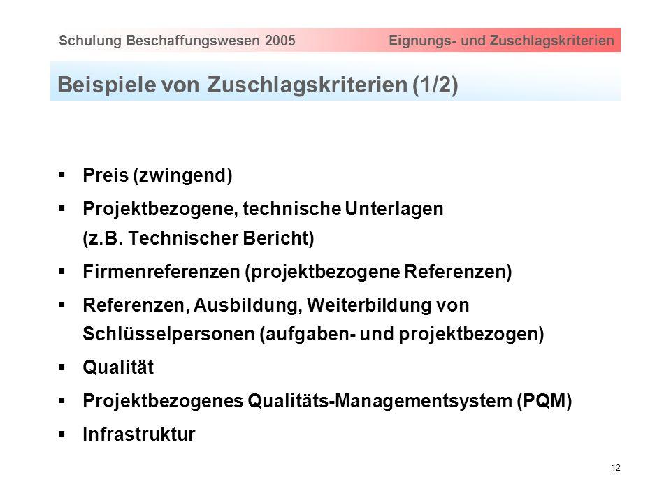 Hauptthema eingeben via Ansicht > Master > FolienmasterSchulung Beschaffungswesen 2005 Eignungs- und Zuschlagskriterien 12 Beispiele von Zuschlagskrit