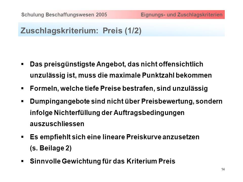 Hauptthema eingeben via Ansicht > Master > FolienmasterSchulung Beschaffungswesen 2005 Eignungs- und Zuschlagskriterien 14 Zuschlagskriterium: Preis (