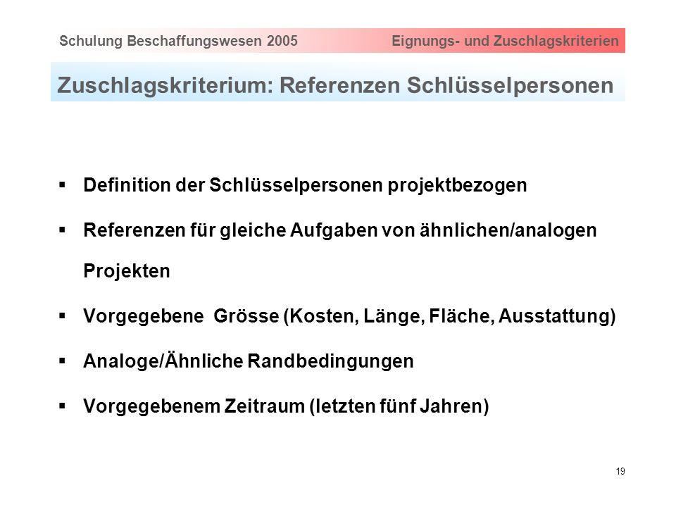 Hauptthema eingeben via Ansicht > Master > FolienmasterSchulung Beschaffungswesen 2005 Eignungs- und Zuschlagskriterien 19 Zuschlagskriterium: Referen