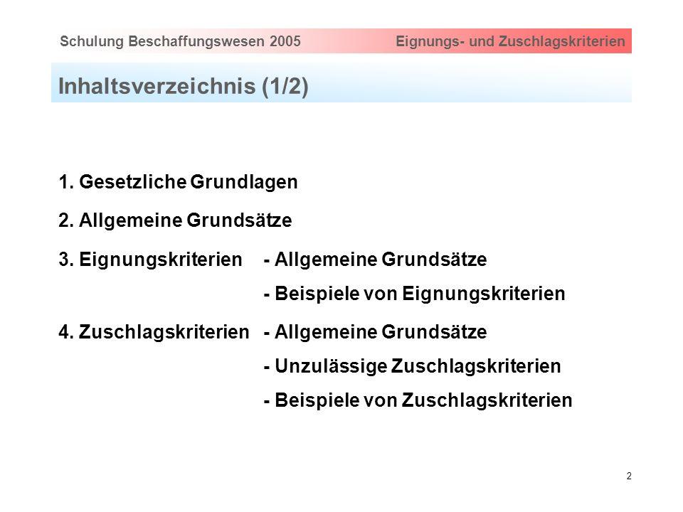 Hauptthema eingeben via Ansicht > Master > FolienmasterSchulung Beschaffungswesen 2005 Eignungs- und Zuschlagskriterien 2 Inhaltsverzeichnis (1/2) 1.