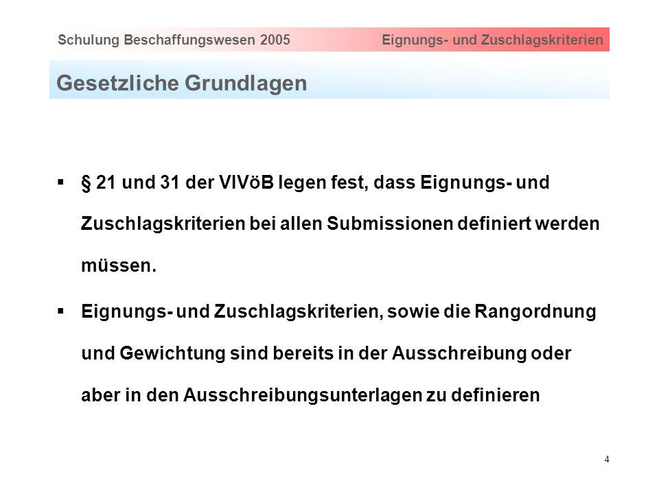 Hauptthema eingeben via Ansicht > Master > FolienmasterSchulung Beschaffungswesen 2005 Eignungs- und Zuschlagskriterien 4 Gesetzliche Grundlagen § 21