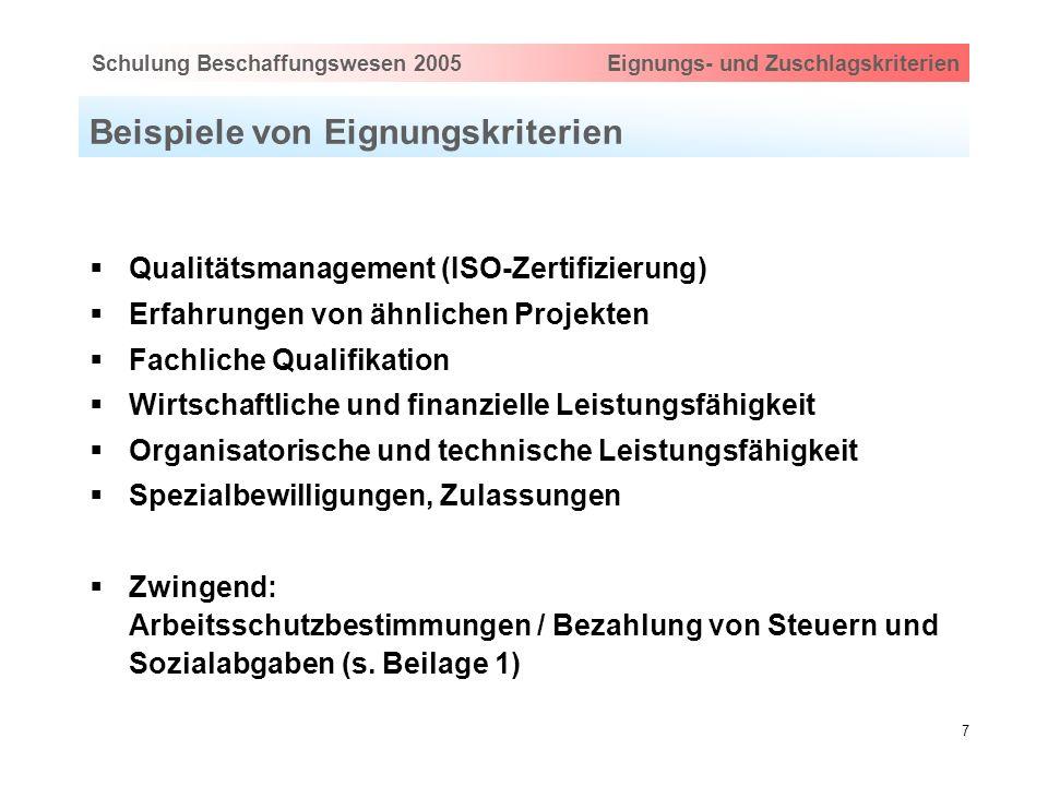 Hauptthema eingeben via Ansicht > Master > FolienmasterSchulung Beschaffungswesen 2005 Eignungs- und Zuschlagskriterien 7 Beispiele von Eignungskriter