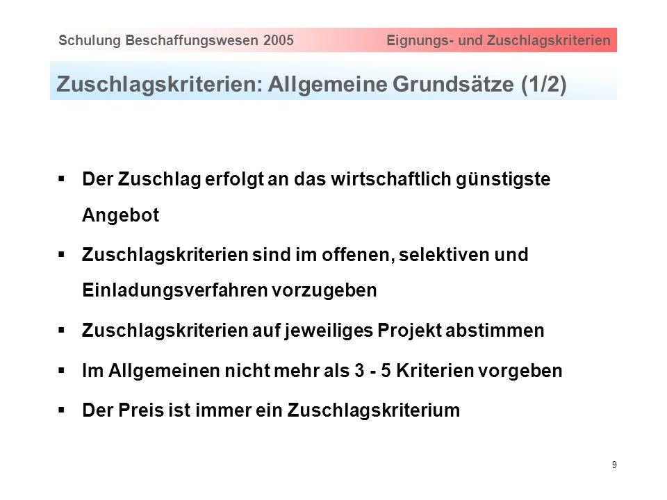 Hauptthema eingeben via Ansicht > Master > FolienmasterSchulung Beschaffungswesen 2005 Eignungs- und Zuschlagskriterien 9 Zuschlagskriterien: Allgemei