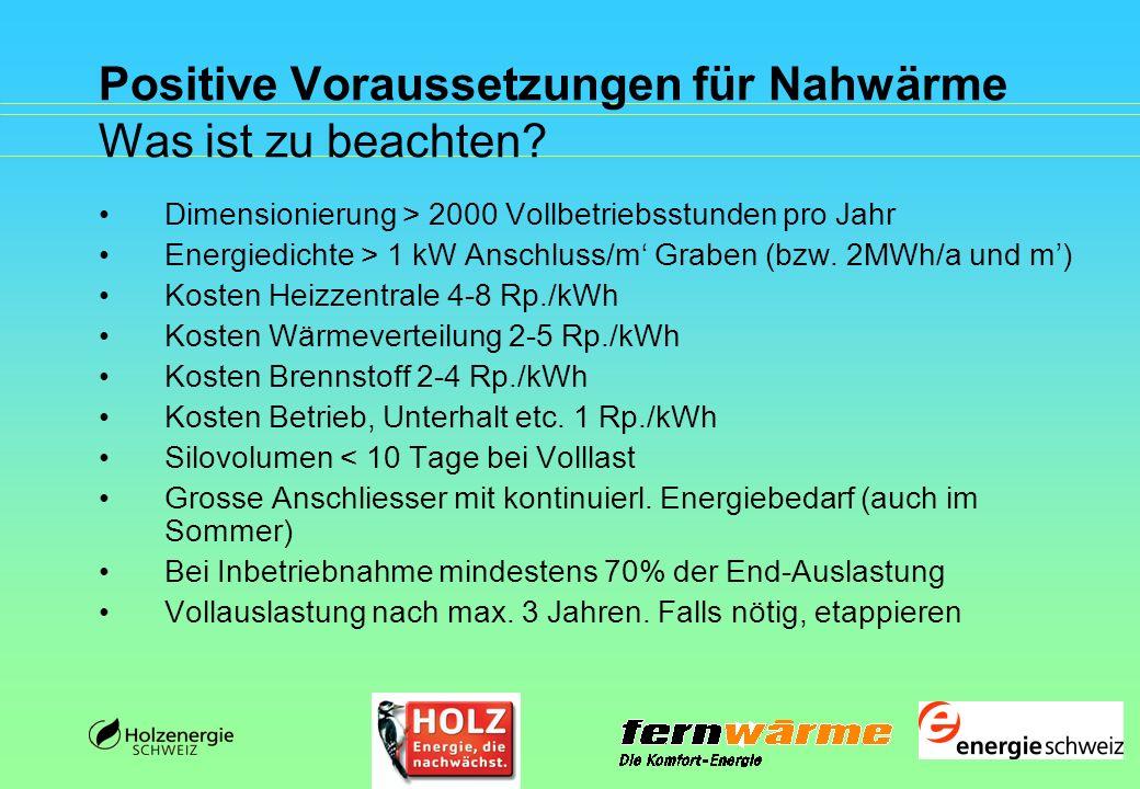 Positive Voraussetzungen für Nahwärme Was ist zu beachten? Dimensionierung > 2000 Vollbetriebsstunden pro Jahr Energiedichte > 1 kW Anschluss/m Graben