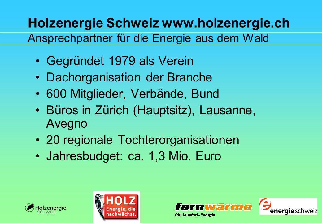 Holzenergie Schweiz www.holzenergie.ch Aktivitäten für die Energie aus dem Wald Informations-/Beratungsdienst, Imagekampagne, Vorträge, Medienarbeit, Bildarchiv, Bibliothek Ausstellungen, Events, Materialverleih Publikationen Qualitätssicherung/Qualitätsmanagement Förderprogramme Politisches Lobbying, Internationales