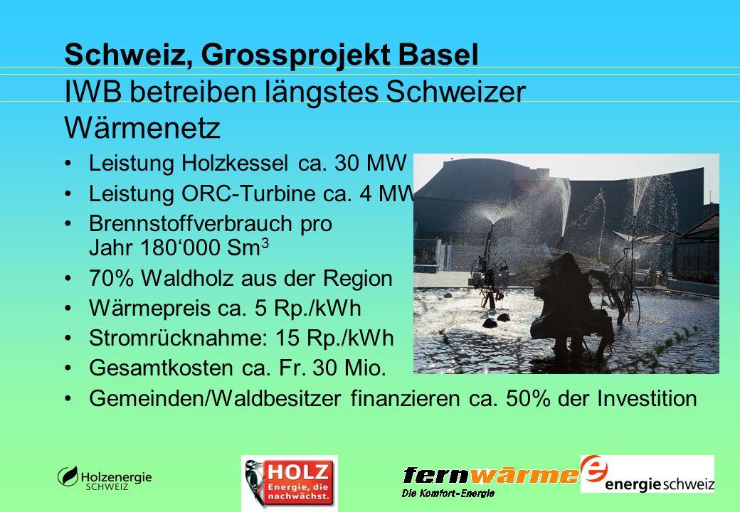 Schweiz, Grossprojekt Basel IWB betreiben längstes Schweizer Wärmenetz Leistung Holzkessel ca. 30 MW Leistung ORC-Turbine ca. 4 MW Brennstoffverbrauch
