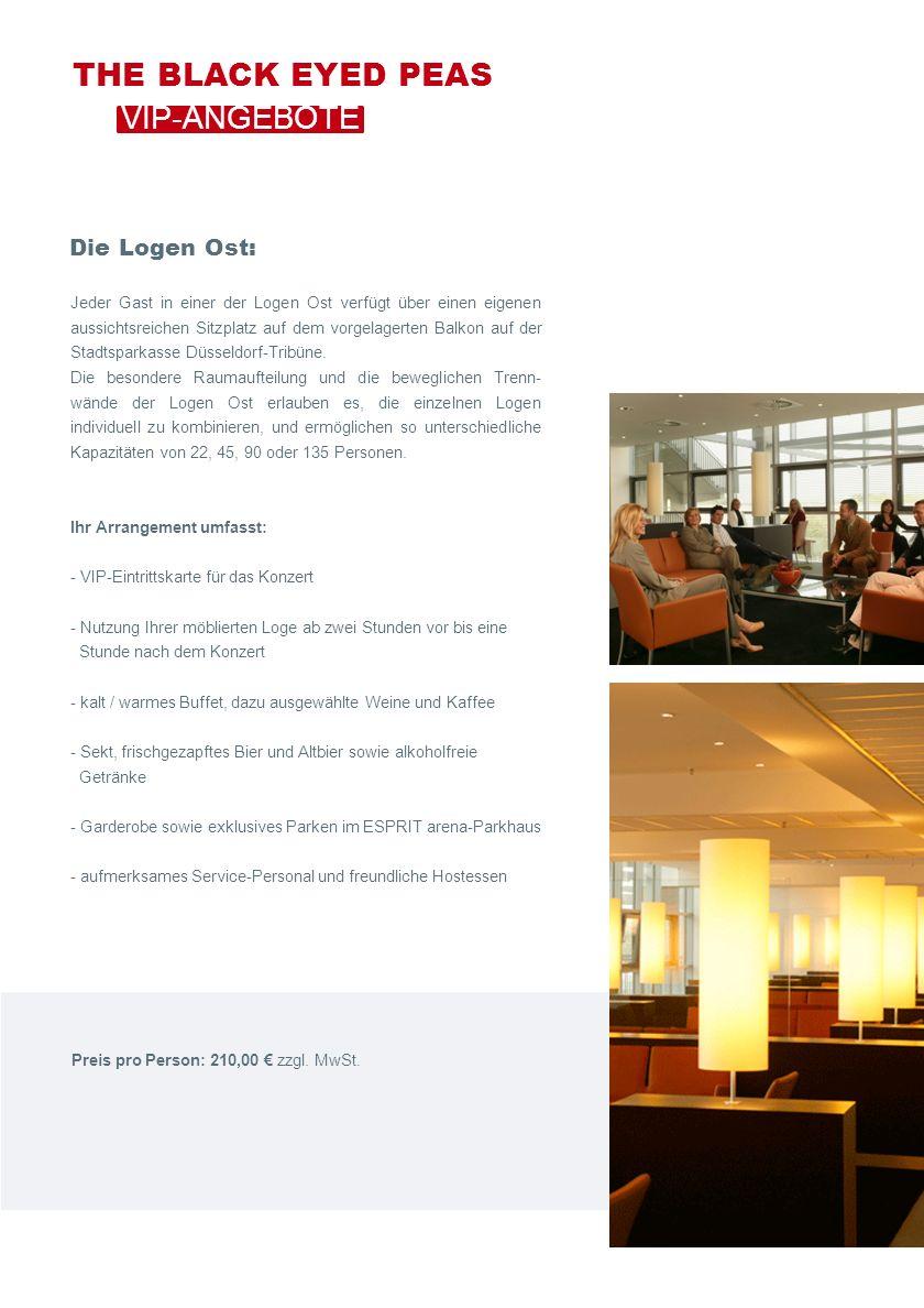 Die Logen Ost: Jeder Gast in einer der Logen Ost verfügt über einen eigenen aussichtsreichen Sitzplatz auf dem vorgelagerten Balkon auf der Stadtsparkasse Düsseldorf-Tribüne.