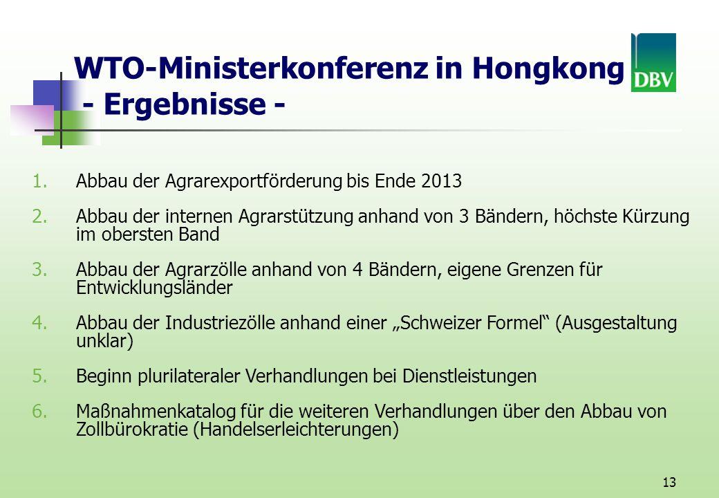 13 WTO-Ministerkonferenz in Hongkong - Ergebnisse - 1.