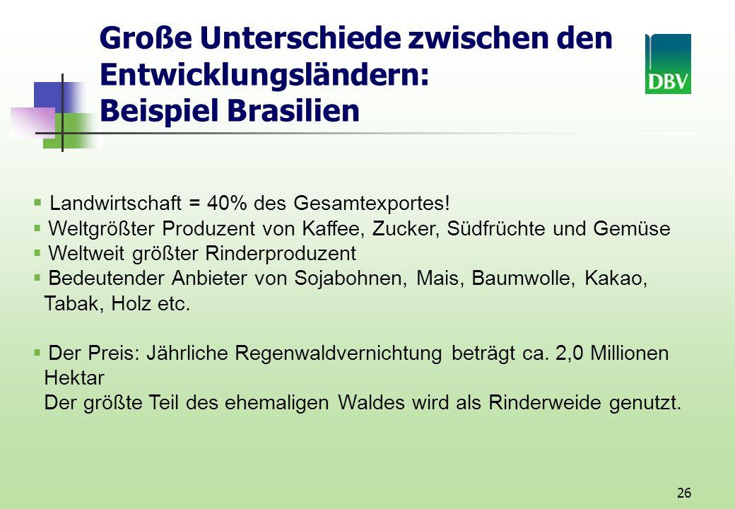 26 Große Unterschiede zwischen den Entwicklungsländern: Beispiel Brasilien Landwirtschaft = 40% des Gesamtexportes.