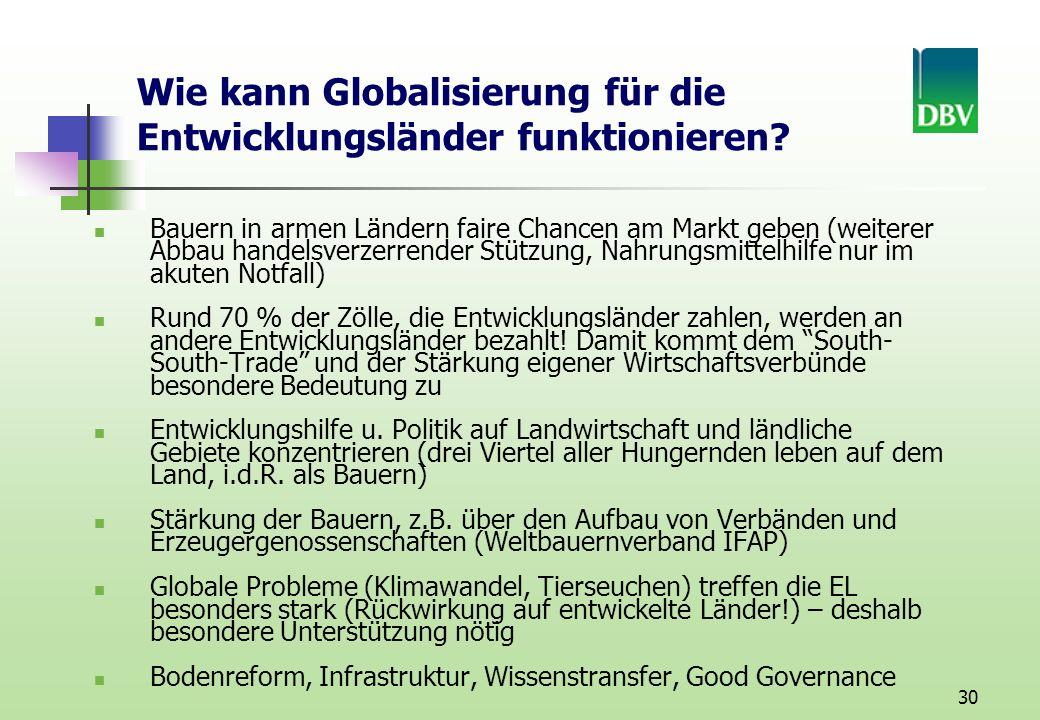 30 Wie kann Globalisierung für die Entwicklungsländer funktionieren.