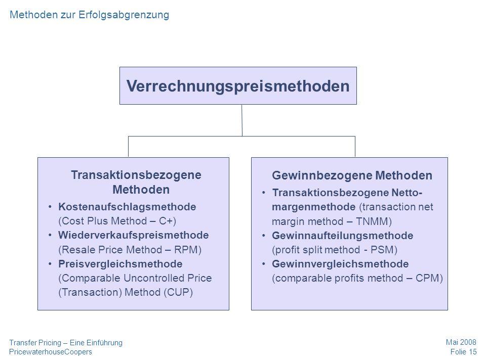 PricewaterhouseCoopers Mai 2008 Folie 15 Transfer Pricing – Eine Einführung Methoden zur Erfolgsabgrenzung Verrechnungspreismethoden Transaktionsbezog