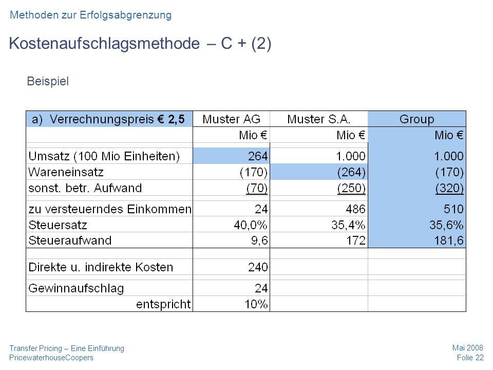 PricewaterhouseCoopers Mai 2008 Folie 22 Transfer Pricing – Eine Einführung Kostenaufschlagsmethode – C + (2) Methoden zur Erfolgsabgrenzung Beispiel