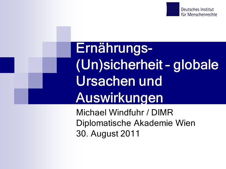 Ernährungs- (Un)sicherheit – globale Ursachen und Auswirkungen Michael Windfuhr / DIMR Diplomatische Akademie Wien 30. August 2011