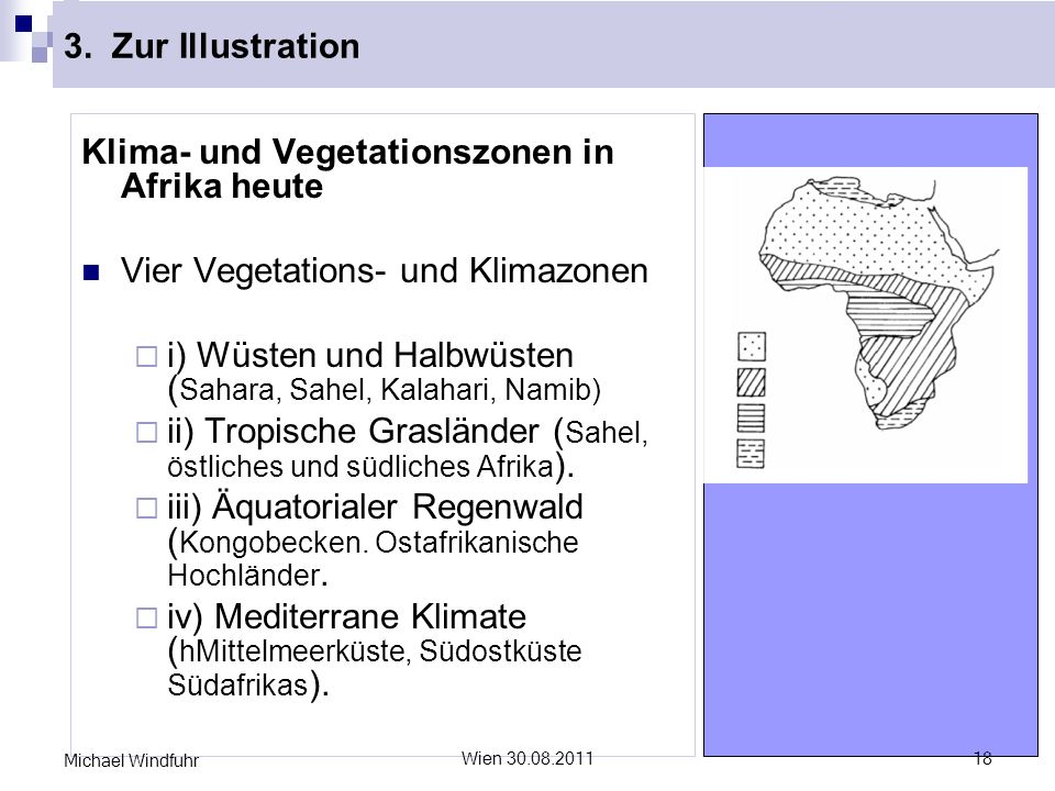 3. Zur Illustration Klima- und Vegetationszonen in Afrika heute Vier Vegetations- und Klimazonen i) Wüsten und Halbwüsten ( Sahara, Sahel, Kalahari, N