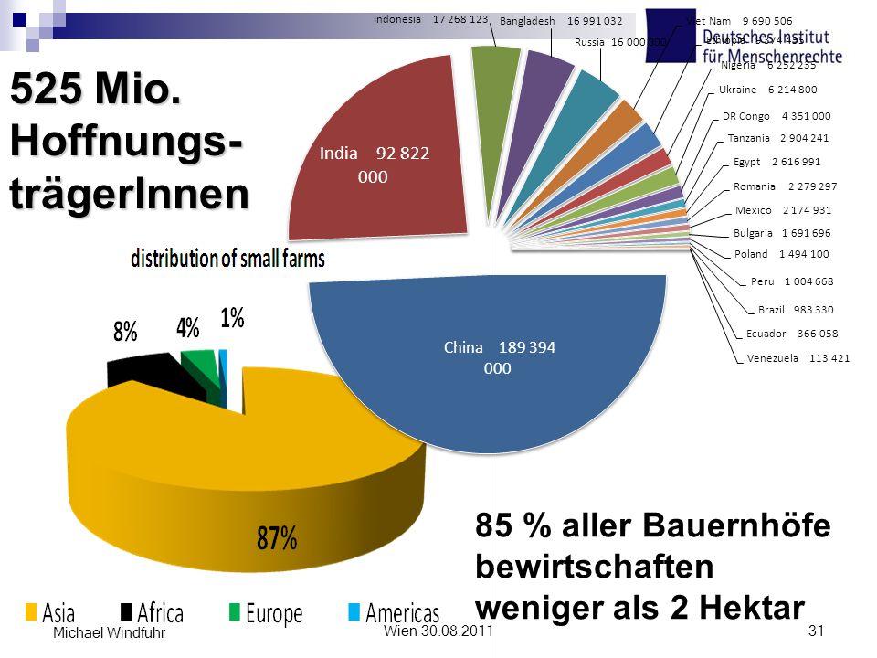 525 Mio. Hoffnungs- trägerInnen 85 % aller Bauernhöfe bewirtschaften weniger als 2 Hektar Wien 30.08.201131 Michael Windfuhr